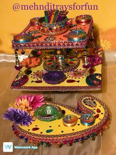 A stunning square mehndi plate. An original concept by Wedding Gift Wrapping, Wedding Gifts, Fairy Lights Wedding, Mehndi Decor, 25th Birthday, Diwali, Event Decor, Henna, Wedding Photos