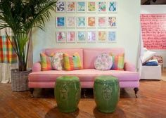Create this look at home with using Lilly wrapping paper to make a frame wall