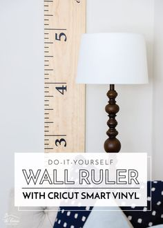 Learn how to make a DIY Wall Ruler with Cricut Smart Vinyl. Thanks to a single cut on the Cricut Maker 3, it's an easy project that comes together in minutes! Wall Decor Crafts, Diy Home Decor, Diy Wood Projects, Diy Craft Projects, Wall Ruler, Smart Materials, Cricut Cuttlebug, Diy Artwork, Diy Pillows