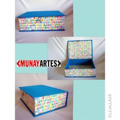Caixa Livro Arabesco Turquesa & Letras Vintage: caixa alta e colorida, perfeita pra guardar coisas com estilo! www.munayartes.com
