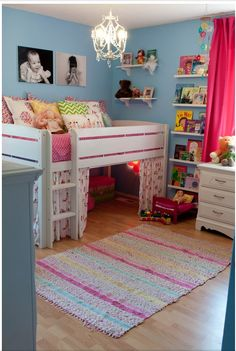 I would love to make this room to a little boys room. I love the jr loft bed and the shelves