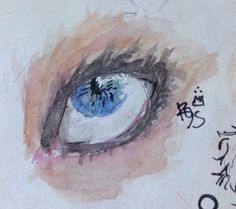 I'm into water colours lately. Here's a watercolour eye... I kinda messed up the lashes, though.. By @rohinicupcake