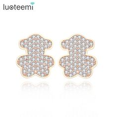 LUOTEEMI Wholesale Newest Bear Earrings Tiny Cubic Zirconia Fancy Fashion Cute Stud Earrings for Women Dress Party Accessories