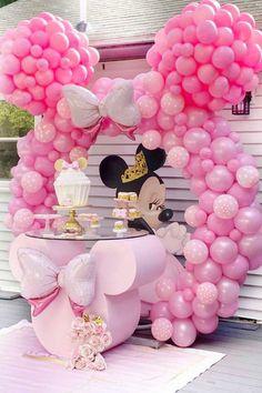 1st Birthday Girl Decorations, 2nd Birthday Party For Girl, Minnie Mouse Party Decorations, Minnie Mouse Birthday Decorations, Minnie Mouse Balloons, Minnie Mouse First Birthday, Girl Birthday Themes, Balloon Decorations Party, Birthday Parties