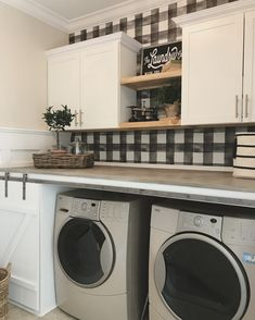 Laundry 45 Stunning Pretty Small Laundry Room Design Ideas - Elevatedroom A Conversation With Helen Small Laundry Rooms, Laundry Closet, Laundry Room Design, Laundry Area, Laundry Decor, Farmhouse Laundry Room, Country Farmhouse Decor, Modern Farmhouse, Farmhouse Style