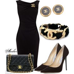 LBD with Chanel Accessories by stay-at-home-mom on Polyvore featuring Coast, Jimmy Choo and Chanel