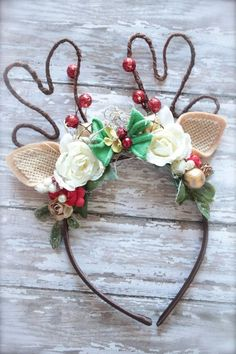 Over the Top Couture Christmas Woodland Inspired Reindeer Antlers Headband - Perfect Holiday or Pageant Photo Prop