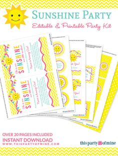 You Are My Sunshine Party Invitation & by thispartyofmine on Etsy