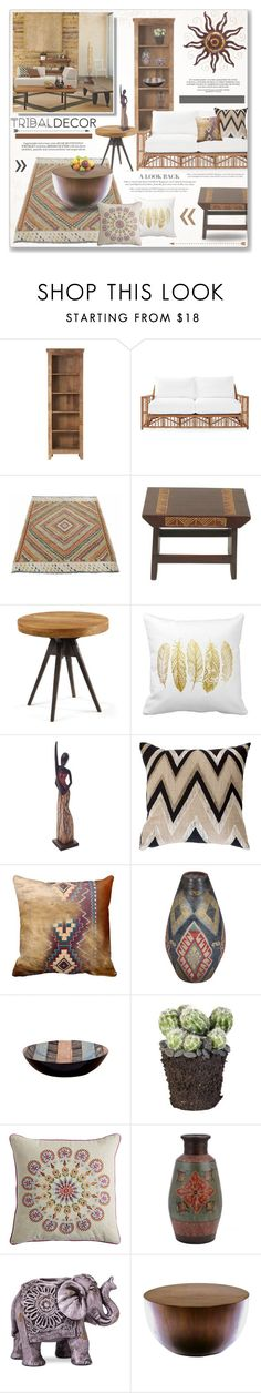"""Tribal Decor Living"" by alexandrazeres ❤ liked on Polyvore featuring interior, interiors, interior design, home, home decor, interior decorating, Home Decorators Collection, Serena & Lily, NOVICA and Bandhini Homewear Design"