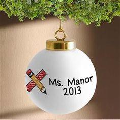 Teacher's Personalized Porcelain Christmas Ornaments