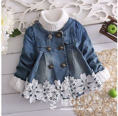 Trendy Sewing Baby Jacket Children – Best for Kids Baby Outfits, Toddler Outfits, Baby Girl Fashion, Kids Fashion, Little Girl Dresses, Girls Dresses, Denim And Lace, Baby Sewing, Barbie Clothes