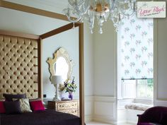 Give your bedroom a luxurious feel with patterned roller blinds www.your-blinds.co.uk