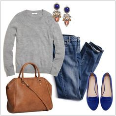 An even more casual outfit that includes skinny blue jeans, a gray sporty sweater and blue electric brogues. Style it up with statement earrings, an oversized leather bag, a sleek ponytail and a classic coat in camel or gray. Source by outfits with flats Fashion Mode, Look Fashion, Fashion Outfits, Fashion Ideas, Trendy Fashion, Fashion Clothes, Woman Fashion, Dress Fashion, Vetements Clothing