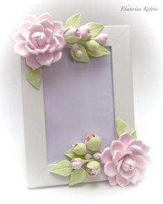 """Купить """"Розовые розы"""" - нежно-розовый, рамка для фото, розы, садовые розы, полимерная глина"""
