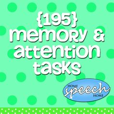 These memory and attention tasks help build connections in your clients brains and can strengthen memory and attention skills. Pinned by SOS Inc. Resources. Follow all our boards at pinterest.com/sostherapy/ for therapy resources.