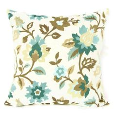 16x16 Throw Pillow Cover Teal Aqua Seafoam by GigglesOfDelight Flowers Home Décor Decorative Throw Pillow Covers