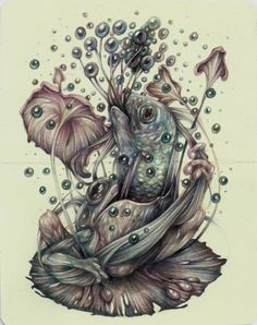 """""""Eat Your Dreams"""" 2014, colored pencils and pen on moleskine paper by Marco Mazzoni (b1982, Milan)"""