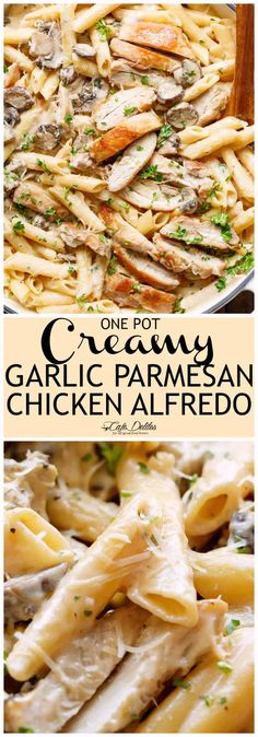Creamy Garlic Parmesan Chicken Alfredo is all cooked in ONE POT! Ready and on the table in less than 20 minutes! Seared chicken is mixed through a super creamy garlic parmesan flavoured pasta with white wine and mushrooms! A favourite Chicken Alfredo recipe!