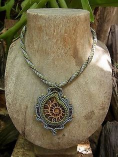 Macrame Necklace Pendant Ammonite Fossil Stone Handmade Handcrafted