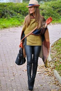 @roressclothes closet ideas #women fashion outfit #clothing style apparel Gorgeous Poncho Outfit Idea for Fall