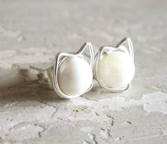 Kitty Cat Stud Earrings  Sterling Wire Wrapped by ContempoJewelry, $14.00