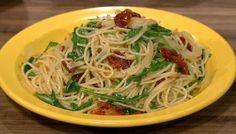 the chew   Recipe    Mario Batali's Spaghettini With Sun-Dried Tomatoes And Arugula