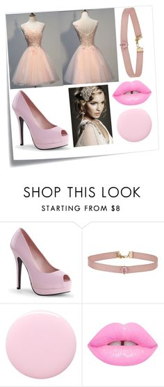"""""""Light Pink Homecoming Dress"""" by angels-and-ametrines ❤ liked on Polyvore featuring Post-It, Miss Selfridge and Nails Inc."""