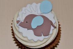 - cake by Tress Cupcakes Elephant Cupcakes, Elephant Baby Shower Cake, Animal Cupcakes, Elephant Birthday, Baby Elephant, Elephant Theme, Fancy Cupcakes, Cupcakes For Boys, Baby Shower Cupcakes