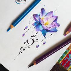 Beautiful tattoo - - My list of best tattoo models Unalome Tattoo, Lotusblume Tattoo, Mandala Tattoo, Piercing Tattoo, Tattoo Drawings, Tattoo Outline, Tattoo Fonts, Piercings, Love Tattoos