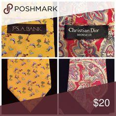 Men's neckties Bundle of 2 men's neckties.  Christian Dior and Joseph Bank.  Both 100% silk Accessories Ties