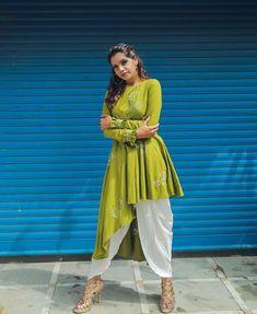 Beautiful asymmetric cotton-silk kurti with brilliant embroidery embellishment and set with dhoti pant. Blouse Designs, Silk Kurti Designs, Dress Designs, Western Dresses, Indian Dresses, Pakistani Outfits, Indian Outfits, Indian Designer Outfits, Designer Dresses