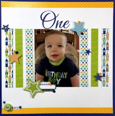Happy 1st Birthday Boy Scrapbook Layout | Celebrate your little one's first birthday with this fun scrapbook layout!