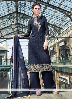 Stupendous Navy Blue Georgette Straight Salwar Kameez