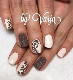 12 Amazing Nail Designs For Short Nails: #5. Pink and Brown Glitter Glam