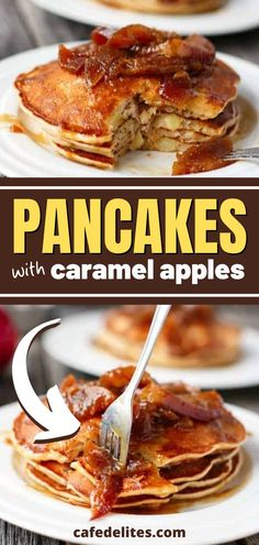 Caramel Apple Pancakes are pure heaven on a plate. Juicy soft apple pieces are wrapped in vanilla and cinnamon fluffy pancakes, and then topped with caramel apples and a thick sweet caramel sauce. This homemade breakfast is perfect for your weekend brunch or can easily satisfy your sweet tooth any morning! Cafe Delites, Fluffy Pancakes, Homemade Breakfast, Easy Food To Make, Caramel Apples, Love Food, Sweet Tooth, Brunch, Yummy Food