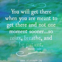 """You will get there when you are meant to get there and not one moment sooner... so relax, breathe, and be patient."""