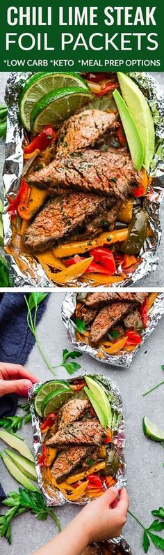 Grilled or Oven Steak Fajita Foil Packets are the perfect easy meal for summer grilling and cookouts. Best of all, theyre loaded with bell peppers & seasoned with an amazing chili, lime and cilantro combo & our favorite homemade Tex Mex inspired flavors. Low Carb Keto, Low Carb Recipes, Beef Recipes, Cooking Recipes, Healthy Recipes, Drink Recipes, Freezer Recipes, Freezer Cooking, Dinner Recipes