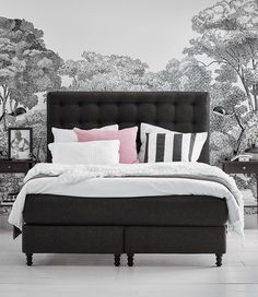 vallavik boxspringbett 180x200 cm hyllestad mittelfest tuss y grau ikea schlafzimmer. Black Bedroom Furniture Sets. Home Design Ideas