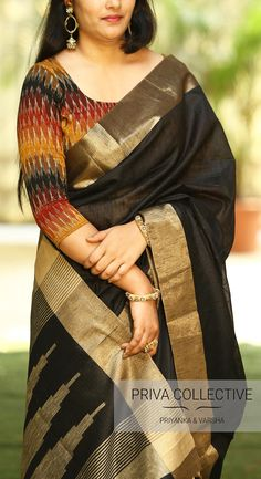 PV 3636 : Black and Ikkat Price : Rs 3800 Classy Black raw silk saree Unstitched blouse piece : Ikkat blouse piece as in the pic For Order Kalamkari Blouse Designs, Cotton Saree Blouse Designs, New Blouse Designs, Stylish Blouse Design, Blouse Back Neck Designs, Saree Blouse Patterns, Kalamkari Dresses, Ikkat Dresses, Designer Blouse Patterns