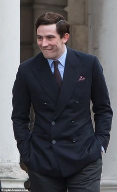 Details: The actor sported a dapper navy suit with a blue shirt and burgundy tie The Crown 2016, The Crown Season 3, Peter Townsend, Crown Netflix, Charles Dance, New Actors, Chuck Bass, Costume Shop, Navy Suits