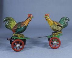Original Vintage Einfalt Germany Tin Litho Wind-Up Fighting Cocks Roosters Toy