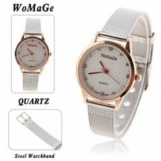 $4.26 WoMaGe Women's Steel Quartz Analog Watch with Rhinestone Decoration Dial Golden Case (Silver)