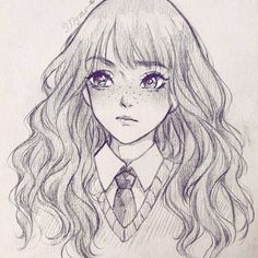 Marvelous Learn To Draw Manga Ideas. Exquisite Learn To Draw Manga Ideas. Harry Potter Drawings Easy, Harry Potter Sketch, Harry Potter Art, Cartoon Kunst, Cartoon Art, Art Drawings Sketches Simple, Easy Drawings, Drawing Ideas, Girl Drawing Easy
