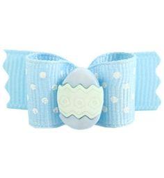 "Holiday Dog Bows Easter Egg Blue 5/8"""