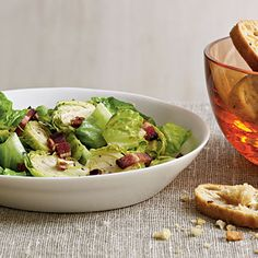 Brussels Sprouts Salad with Warm Bacon Vinaigrette - Vegetable and Green Salad Recipes - Cooking Light
