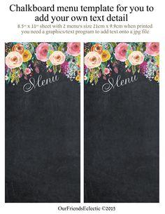 printable chalkboard menu, chalkboard wedding party menu, menu blank template,  you print, floral menu, digital wedding menu by OurFriendsEclectic on Etsy Menu Chalkboard, Chalkboard Wedding, Wedding Menu, Menu Template, Templates, Word Art, Projects To Try, Printables, Tapestry