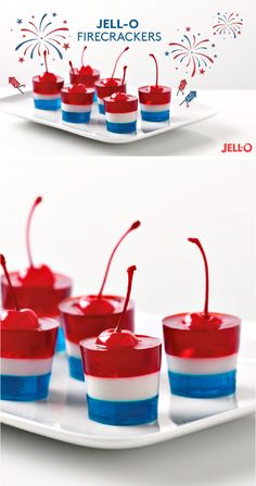JELL-O Firecrackers – These patriotic treats are sure to be the star of your Memorial Day or 4th of July dessert table. Guests will be impressed by the layers of red, white, and blue gelatin. Little will they know that the recipe was a breeze to prepare. Now that's a reason to celebrate!