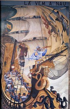 Almada Negreiros Henri De Toulouse Lautrec, Gustav Klimt, Everyday Objects, Paint Designs, Landscape Paintings, Modern Art, Portugal, Tapestry, Cruise Ships