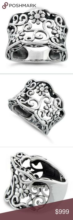 COMING SOON!  Sterling Silver Floral Design Ring Coming soon to my closet! Beautiful floral design ring in geniune 925 Sterling Silver Jewelry Rings
