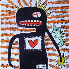 Basquiat el demonio acrilico sobre tela